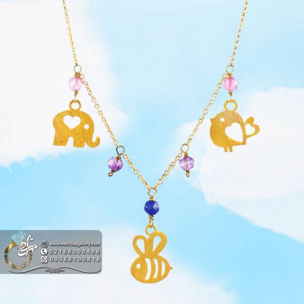 دستبند طلا نوزاد طرح فیل زنبور پرنده