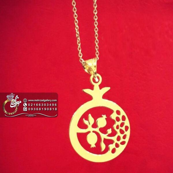 پلاک طلا طرح انار و شاخه انار
