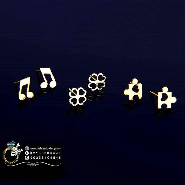 گوشواره طلا میخی طرح پازل قلبی، نوت موسیقی و گل