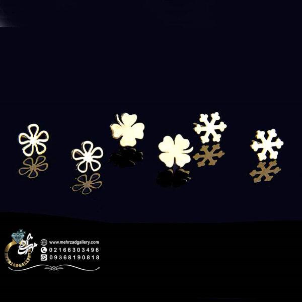 گوشواره طلا میخی طرح دونه برف و گل زیبا