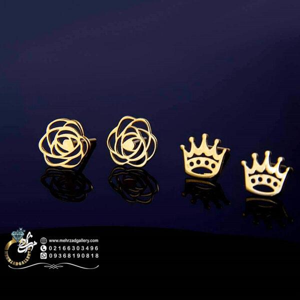 گوشواره طلا میخی طرح تاج و گل خاص