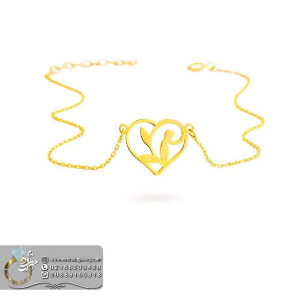 پابند طلا طرح قلب و فرشته
