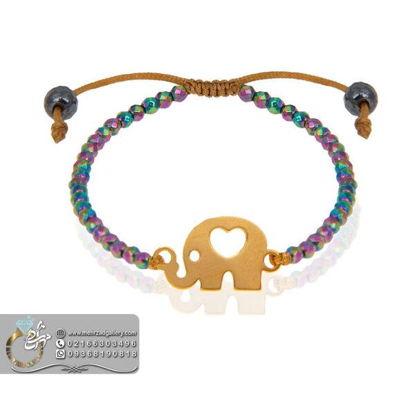 دستبند طلا نوزاد طرح فیل قلبی