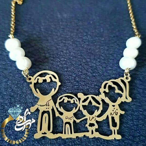 پلاک طلا نوزاد طرح خانواده و نام اعضا خانواده