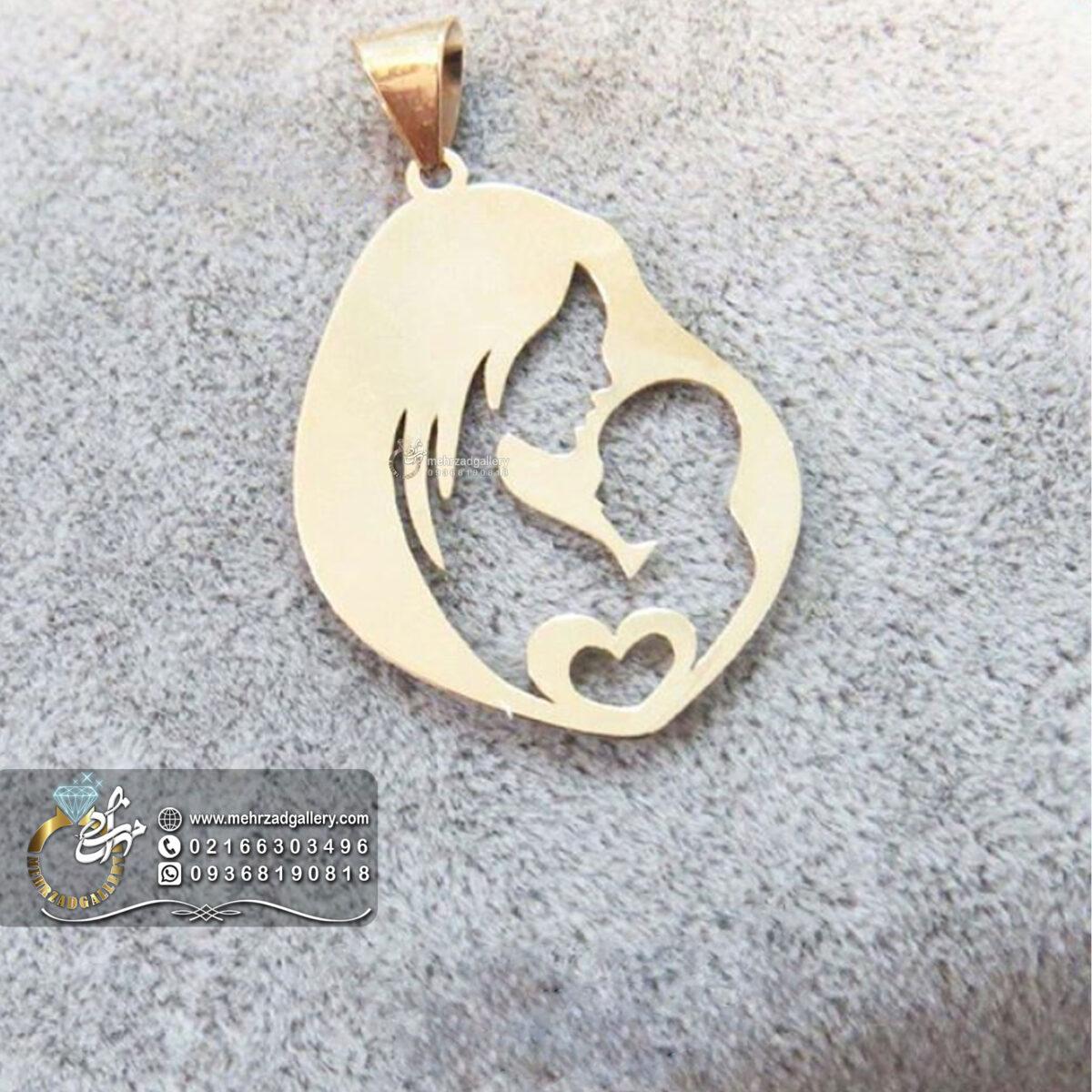 زنجیر و پلاک طلا مادر باردار طرح مادر و بچه با قلب
