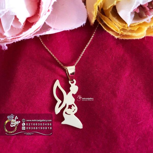 پلاک طلا نوزاد طرح فرشته مادر