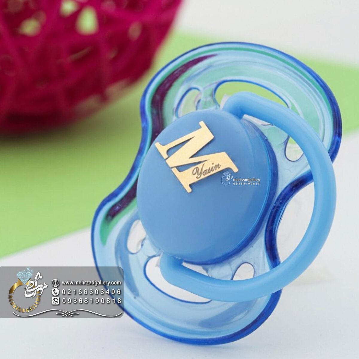 پلاک طلا اسم نوزاد حروف انگلیسی M برای پستونک