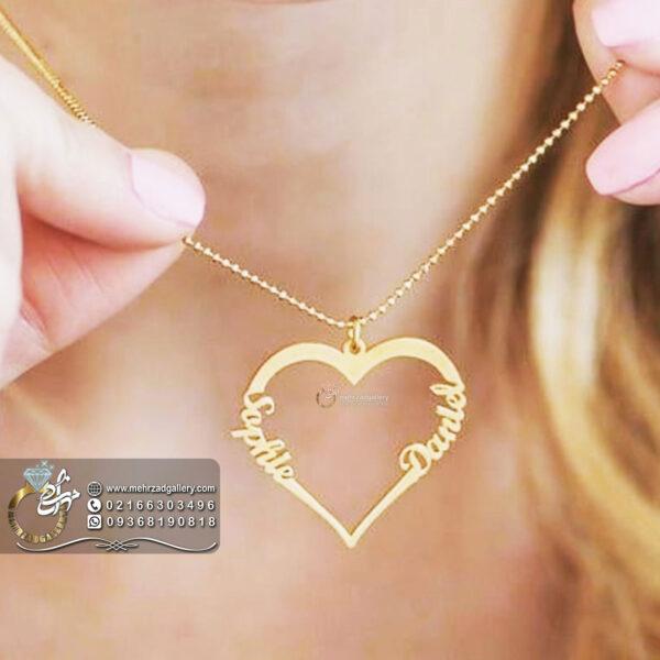 پلاک طلا اسم ترکیبی ولنتاین طرح قلب